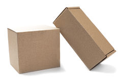Two cardboard boxes for mail on a isolated white background. Two cardboard boxes for mail on isolated white background Stock Images