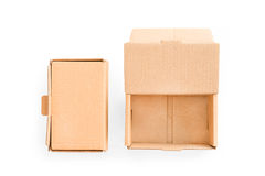 Two cardboard boxes: open and closed. On white with clipping pat Stock Photography