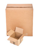 Two cardboard boxes on white Royalty Free Stock Photo