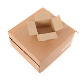 Two cardboard boxes on white Royalty Free Stock Image