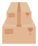 Two cardboard boxes on white vector illustration