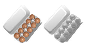 Two cardboard containers for eggs, one empty, the second with brown chicken eggs. Stock Photo