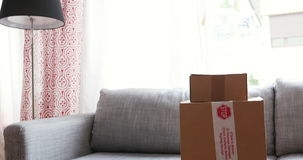 Two cardboard on sofa. Two cardboard boxes on modern sofa in home interior stock video footage