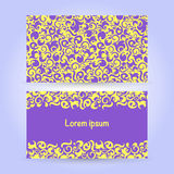 Two cards with abstract ornament in yellow and violet colors Royalty Free Stock Images
