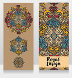 Two cards with beautiful colorful ornaments Royalty Free Stock Photography