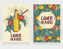 Two cards for cider season with beautiful branch of apple tree and bottle of cider Stock Photo