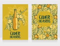 Two cards for cider season with beautiful branch of apple tree and bottle of cider Stock Photography
