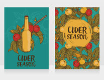 Two cards for cider season with beautiful branch of apple tree and bottle of cider stock illustration