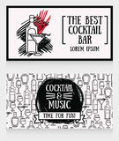 Two cards for cocktail bar. Can be used as template for party invitation, vector illustration Stock Image