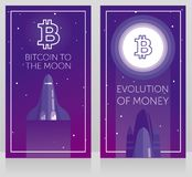 Two cards for cryptocurrency and new space technology. Space shuttle fly to ton logotype on the moon, cosmic vector illustration Stock Image