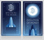 Two cards for cryptocurrency and new space technology. Space shuttle fly to ton logotype on the moon, cosmic vector illustration Stock Photo