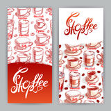 Two cards with cups of coffee Royalty Free Stock Photo