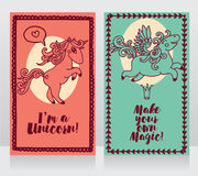 Two cards with cute unicorn and pegasus Stock Images