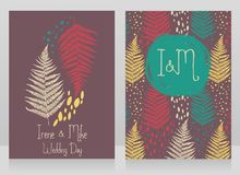Two cards decorated with fern leaves for autumn wedding Royalty Free Stock Photography