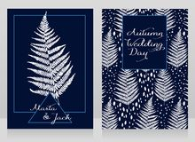 Two cards decorated with fern leaves for autumn wedding Stock Photography