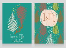 Two cards decorated with fern leaves for autumn wedding Stock Image