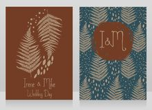 Two cards decorated with fern leaves for autumn wedding Stock Images
