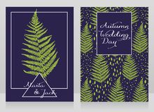 Two cards decorated with fern leaves for autumn wedding Royalty Free Stock Photos