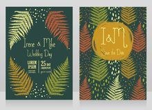 Two cards decorated with frame formed of fern leaves Stock Images