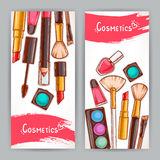 Two cards with decorative cosmetics Royalty Free Stock Photo