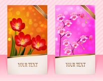Two cards with flower for invitations striped background Royalty Free Stock Images
