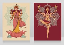 Two cards with indian goddess Lakshmi and Kali and mandala round ornament. Vector illustration Royalty Free Stock Photos