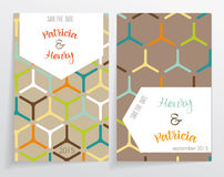Two cards. Of invitation. made with geometric patterns reminiscent of cell and hexagons. The background is different, the pattern inscription Stock Images