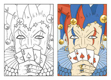 Two cards with Joker. Black and white and colorful Joker. Line art hand drawn vector illustration and sketch. Graphic portrait of Fool with playing cards in vector illustration