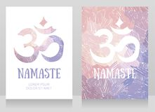 Two cards with om symbol on artistic background. Can be used as banners for yoga studio, vector illustration Royalty Free Stock Images