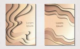 Two cards in paper cut style, minimal template design. Abstract paper waves, layers, 3d art. Vector illustration. For your design vector illustration