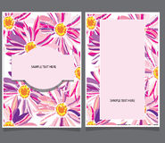 Two cards with pink flowers Stock Images
