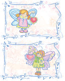 Two cards of pretty angels. Stock Images