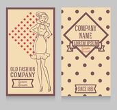 Two cards in retro american style with 1950s styled doodle woman. Can be used as retro party invitation or as flyer for pin up shop, vector illustration vector illustration