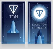 Two cards for telegram cryptocurrency - ton and new space technology, space shuttle fly to ton logotype on the moon, ultra violet. Color, cosmic vector Royalty Free Stock Image