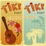 Two cards for Tiki bars. Retro cards for Tiki bars, Hawaiian party, two postcards in vintage style with hand drawn text Aloha and Tiki - illustration Royalty Free Stock Photos