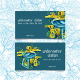 Two cards with underwater stations and text Royalty Free Stock Image