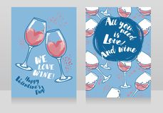 Two cards for valentine`s day and wine party stock photography