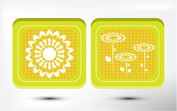 Two cards withe flowers on dotted background Royalty Free Stock Photos