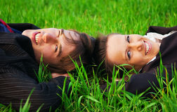 Two carefree colleagues stock photography