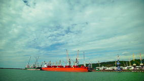 Two Cargo Ship, Red and Green, Loaded in the Port of Cargo.Wide shot. Two Cargo Ship, Red and Green, Loaded in the Port of Cargo .Cranes Loaded Iron and Coal to stock video footage