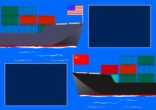 Two cargo ships as an n economic taxation dispute over importand exports. vector illustration