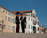 Two caribanieri, police in Venice. Stock Images