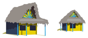 Two caribbean beach huts Royalty Free Stock Photography