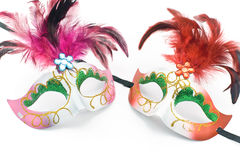 Two Carnival mask with feathers and diamond Royalty Free Stock Images