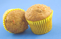 Two Carrot Pecan Muffins Stock Photography