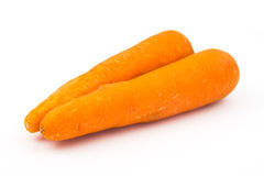 Two carrot on white background. Two orange carrot on white background Royalty Free Stock Photography
