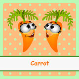 Two carrots, funny character on orange background Stock Images