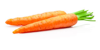 Two carrots isolated on withe background Royalty Free Stock Photo