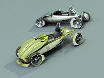 Two cars. Render concept car of yellow colour vector illustration