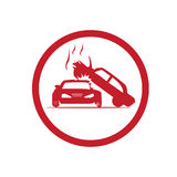 Two cars accident icon. Two cars one on each other , accident symbol, illustration design, isolated on white background Royalty Free Stock Photography